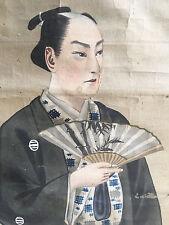 Peinture Rouleau Japonais XIX Ancien Japanese