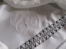 Stunning Antique French Pure Linen Trousseau Sheet. Scalloped Return, Embroidery