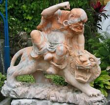 Sculpted Marble Statue, Lohan Monk Taming Tiger