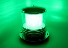 Solar Marine Warning Light - GREEN LED, Flashing 360-Degree Lighting