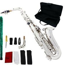 New Professional Brass Gold Eb Alto Sax Saxophone with Accessories Silver D0C7