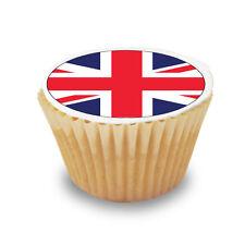 12 x UK / Union Jack Flags Pre Cut Cupcake Toppers Premium Sugar Icing Sheet