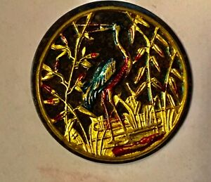 Rare Antique Horn ? Bone  Button w Hand Painted Crane Bird in Pond or Metal Base