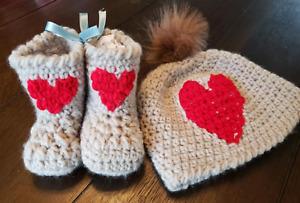 Crochet newborn baby hat bootie set red heart gift present handmade