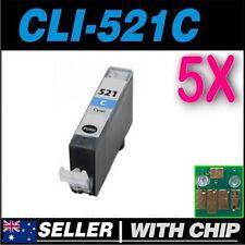 5x Cyan Ink for Canon CLI521 CLI-521C iP3600 iP4600 iP4700 MP540 MP550 MP560