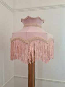 Pale pink velvet lampshade crown shaped table light ceiling pendant standard