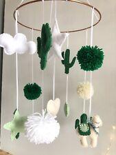 Llama And Cactus Baby Mobile Green Creme White Green Creme