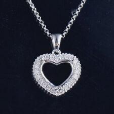 Heart Cut 9×9mm Natural Diamond Semi Mount Pendant Setting Solid 14K White Gold