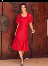 Joanna Hope Red Lace Midi Dress Plus Size 32