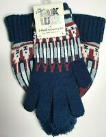 Women's Muk Luks Knit Hat and Gloves Set  - Blue and Mauve - Night Sky
