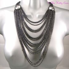 Deco Chic Hematite Grey Gray Multi-Strand Tiered Draping Catwalk Chains Necklace