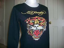 womens Ed Hardy TIGER crystal embellished studded black tee shirt t-shirt M NWT