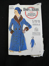 VINTAGE EARLY 1960's FRENCH MODES & TRAVAUX COAT SEWING PATTERN