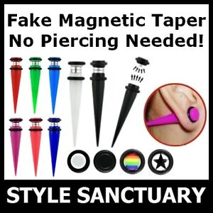 Magnetic Earring Fake Flesh Taper Plug Ear Stretcher Piercing Clip-on Jewellery