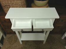 H80 W80 D25cm BESPOKE WHITE CONSOLE HALL TELEPHONE PLANT BEDROOM TABLE 2 DRAWERS