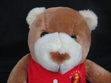 BIG VINTAGE MADE IN KOREA GIORGIO BEVERLY HILLS BROWN TEDDY BEAR RED SHIRT PLUSH
