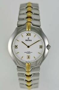 Festina Watch Mens Date Silver Gold Stainless Steel Water Res 30m White Quartz