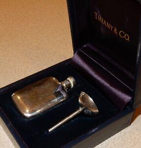 TIFFANY & CO. Sterling Silver Perfume Travel Bottle w/ Funnel ORIGINAL BOX