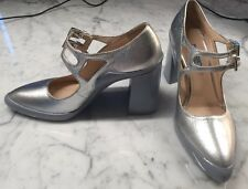 PRADA Silver Leather/rubber Soles Mary Jane Heel, Sz 36.5/6.5
