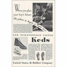 1934 Keds Shoes: When You Plan Your Boys Future Vintage Print Ad