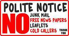 No Junk Mail Self Adhesive Vinyl Letter Box Sticker, Decal Post No cold Callers