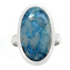 Lightning Azurite With Quartz 925 Sterling Silver Ring Jewelry s.8.5 RR196591