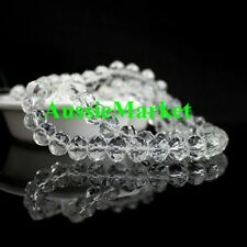 50 x crystal glass loose beads clear rondelle faceted suncatcher prism 8mm new