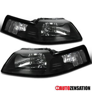 For 1999-2004 Ford Mustang Black Headlights Lamps Replacement Left & Right 99-04