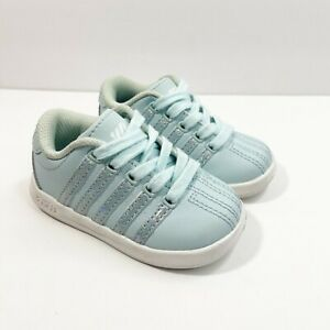 K-Swiss Toddler Girl's Aqua Blue Classic Leather Sparkle Sneaker Shoes Size 4.5