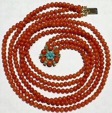 natural NO dye RED round coral beads turquoise possibly Persian 9k gold necklace