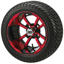 "Set red blue white 12"" Aluminum Alloy Golf Cart Car Rims Wheels & Tires Mounted"