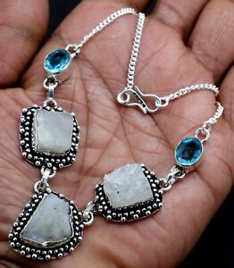 925 Sterling Silver Rough Moonstone & Topaz Gemstone Jewelry Necklace Size-17-18
