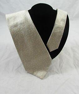 Banana Republic 100% Silk Hand Made Italy Neck Tie Silver Tan Dots Green Orange