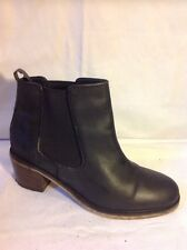 Asos Black Ankle Leather Boots Size 7
