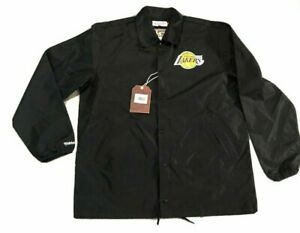 Mitchell & Ness Los Angeles Lakers Satin Snap Button Coaches Jacket Men Size M