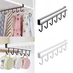 6 Hooks Metal Under Shelf Mug Cup Cupboard Kitchen Organizer Hanging Rack Holder