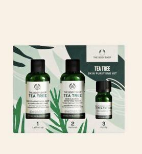 BNIB The Body Shop Tea Tree 1-2-3 Gift Set Cleanse, Tone, Target skin purifying
