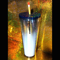 STARBUCKS PENCIL & PAPER TUMBLER teacher ombre white clear navy blue 24oz RARE