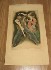 KURT HISCHLER HAND COLORED ETCHING ON PAPER - SIGNED