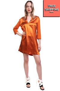 TWIN-SET SIMONA BARBIERI Satin Shift Dress Size S Ruched Contrast Sleeve