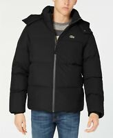 NEW LACOSTE Men's Ski Detach Hood Quilted Down Puffer Taffeta Jacket Black