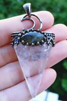 Rock Quartz Labradorite Stone Pendant Energy Reiki Healing Amulet