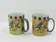 """New ListingSet of Two Lenox Winter Greetings Everyday 4"""" Mugs -Nuthatch Catherine Mcclung"""