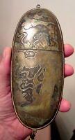 rare large antique handmade 1800's Japanese Meiji bronze inro glasses box case