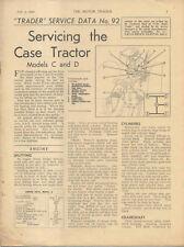 Case Models C & D Tractor Motor Trader Service Data No. 92 1940