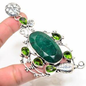 "Emerald, Peridot Handmade Ethnic Style Jewelry Pendant 3.74 "" LL"