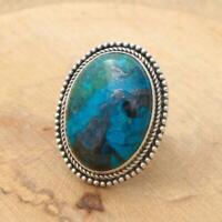 Huge Oval Azurite Malachite 925 Sterling Silver Ring UK Size W-US 11 3/4