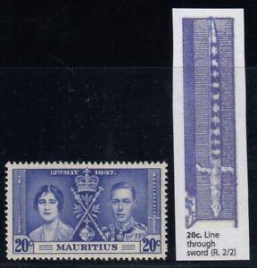"""Mauritius, SG 251a, MHR, """"Line through Sword"""" variety"""