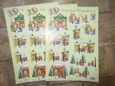 3 x 3D No Scissors Required Pre-Cut Christmas Street Design Decoupage A4 Sheets