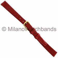 10mm Hadley Roma Leather Lizard Grain Ladies Red Watch Band Regular LS706